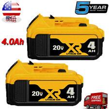 2 Pack For DeWalt 20V 20 Volt Max XR 4.0AH Lithium Ion Battery DCB206-2 DCB205-2