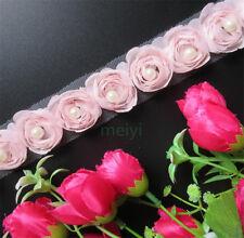 1yd Flower Pearl Lace Edge Trim Wedding Chiffon Ribbon Applique DIY Sewing Craft