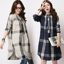 Women Casual Long Sleeve Cotton Linen Check Plaid Loose Tops T Shirt Dress Coats