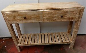 Console Table Teak Solid Wood Leggermate Bleached Industrial CMS 100x25x80h With