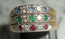 9ct Gold 3-Band Rings Emerald, Ruby, Sapphire & Diamond ~ UK O½  US 7 ~ R0128