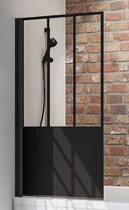 Schulte Black Style Atelier 5 Badewannenaufsatz Duschwand Wannenaufsatz 1400x800