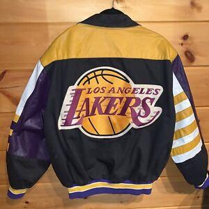 Vtg Rare NBA Los Angeles Lakers Jeff Hamilton Leather Bomber Jacket. Mens Large