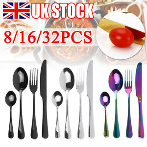 8/16/32PCS Stainless Steel Cutlery Sets Spoon Fork Dinner Solid Forged Steel UK