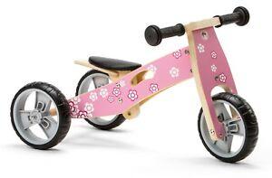 Nicko NIC812 Pink Flower Girls Convertible Wooden Balance Bike Toddler Trike