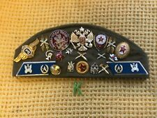 More details for vintage soviet russian red army artillery troop cap with 22 badges