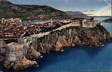 Dubrovnik Ragusa Kroatien Color AK 1939 gelaufen Teilansicht mit Stadtmauern