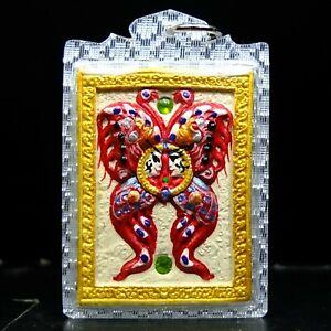 Magic Butterfly Painted Pim Yai, Kruba Krissana Thai Buddha Amulet#2