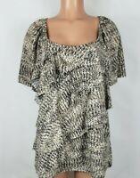 Notations Women's Size 3X Black Tan Blouse Ruffled? Classic Neck Short Sleeve