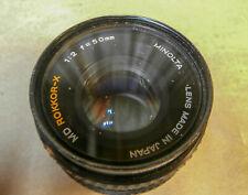 Minolta MD Mount Rokkor-X 50mm 1:2  Lens