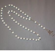CHAPELET SAUTOIR Collier Main de FATMA KAMSA 65cm Perles CREME Nacré NEUF