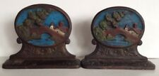 Antique Cast Iron Water Bridge Scene Church Scenic Bookends Book Ends Vintage
