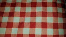 "Plaid peach cinnamon white picnic polyester tablecloth 60"" x 104"" vtg"