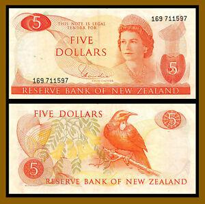 New Zealand 5 Dollars, 1977-1981 P-165d Sig: Hardie Queen Elizabeth II (Cir)