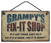 Grampy's Fix-It Shop Sign Wood Worker Mechanic Tool Fix Take to Garage Workshop
