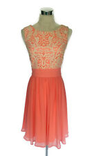 REVIEW Dress- Vintage Retro 1950s Style Peach Cream Embroidered Net Flare - 10/M