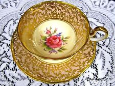 AYNSLEY TEA CUP AND SAUCER PINK & GOLD GILT WITH PINK ROSE PATTERN TEACUP