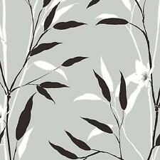 White and Black Leaves and Branches on Shiny Silver Unpasted Wallpaper BW28729