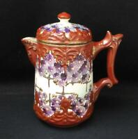 ANTIQUE JAPANESE KUTANI WARE PORCELAIN TEAPOT CHOCOLATE POT HAND PAINTED SIGNED