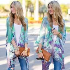 Ladies Kimono Loose Waterfall Chiffon Cardigan Shawl Poncho Top shirt Plus Size