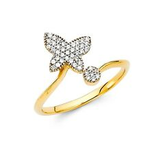 Butterfly Ring Solid 14k Yellow Gold Band CZ Right Hand Ring Curve Pave Stylish