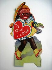Vintage Mechanical Black Americana Valentine w/Girl Changing Face Expressions  *