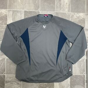 Men's Majestic Therma Base MLB New York Yankees Pullover Top Sz XL Gray Blue