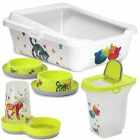 Yellow Cat Kitten Starter Kit Pack Set Food Storage Litter Box Bowls Feeder Tray
