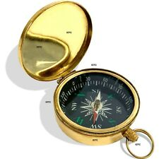 100% Brass Gold Finish Pocket Compass Navigation Tool Collectible - SOLID