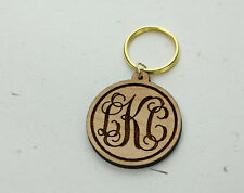Wooden Monogram Keychain - Personalized Engraved Key Chain - Wood Key fob