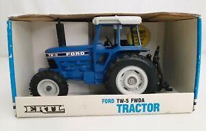 1980s ERTLE Diecast Blue Ford Tractor Vintage Farm Toy in NIB TW-5 FWDA