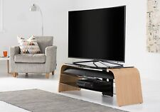 Alphason Spectrum TV Stand  in Oak Veneer and Black Glass 1600mm
