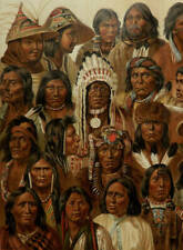 1894 Antique lithograph of NATIVE AMERICANS TYPES American Indians Anthropology.