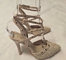 Womens Shoes Rue 21 Heels Size 7/8 Fashion Embellished Goldtone Studs and Lace