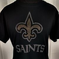 Women's New Orleans Saints Rhinestone Football v neck T Shirt Tee Bling Ladies