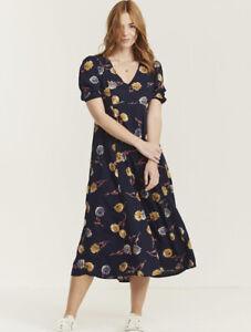 Fat Face Uk 18 Navy Blue Lois Twilight Floral Blooms Midi Dress Excellent #5