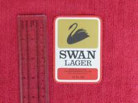 OLD AUSTRALIAN SWAN BREWERY BEER LABEL - SWAN LAGER 13 FL OZ