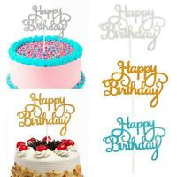 50PCS Glitter Paper Happy Birthday Cake Topper Cupcake Dessert Decor 5 Colors AU