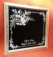 Wedding Bells Design Custom Etched Mirror Wood Frame Glass Etching Anniversary