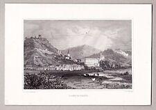 Donaustauf Gesamtansicht. Stich, Stahlstich von Brandmeyer / Poppel um 1845