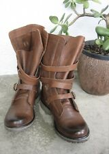 STEVE MADDEN Banddit Boots 2 Two Tone Brown Leather Buckle Strap women's sz 7 M