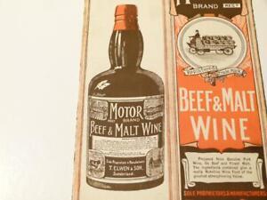 Advert MOTOR Brand Beef & Malt Wine Elwen & Sons Sunderland Bottle Box #S3