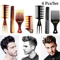 4Pcs Men's Hairdressing Wide Teeth Hairbrush Barber Comb Hair Comb Set New