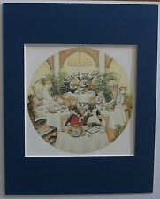 Cat Print Zoe Stokes Tables For 2 Dine Colored Bookplate 1982 8x10 Blue Matted