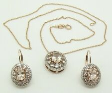 SOLID 9CT ROSE GOLD DIAMOND & MORGANITE PENDANT WITH CHAIN & DROP EARRINGS SET