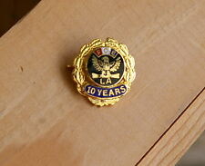 FOE LA 10 Years Fraternal Order of Eagles Gold Tone Metal Enamel Pinback Award