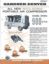 Equipment Brochure - Gardner-Denver - Sp900 - Air Compressor - c1962 (E3568)