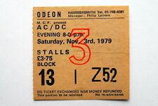 AC/DC DEF LEPPARD VERY RARE TICKET HAMMERSMITH ODEON LONDON 3/11/1979  BON SCOTT