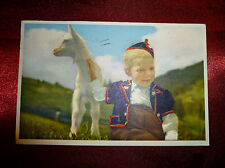 Vintage POSTCARD Blonde boy with a baby goat, colourised, used, Windermere 1957