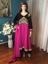 "42"" L Salwar Kameez Bollywood Indian Dress EID Pink Black Size 12 - 14 A6"